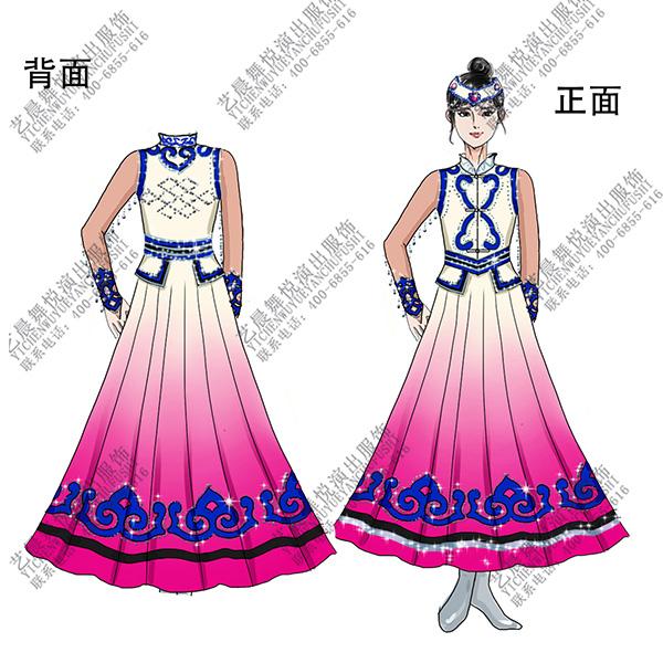 少数民族服装设计蒙古舞服装制作女蒙古比赛服装定制