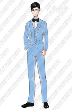 大合唱服装儿童浅蓝色合唱礼服设计图稿!