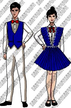 校园学生合唱演出礼服蓝色马甲裙子合唱手绘稿!