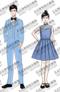 男女款儿童合唱服装亮青色演出服装设计款式