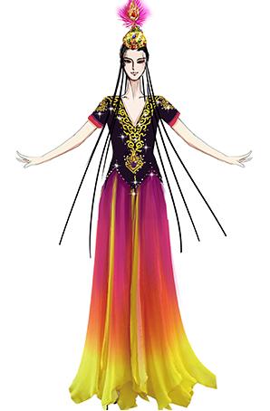 新疆维族舞蹈演出服装设计黑色纱裙表演服装定制,民族舞蹈服装设计!
