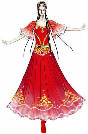 新疆舞蹈演出服装设计与定制红色表演摆裙演出服装设计!
