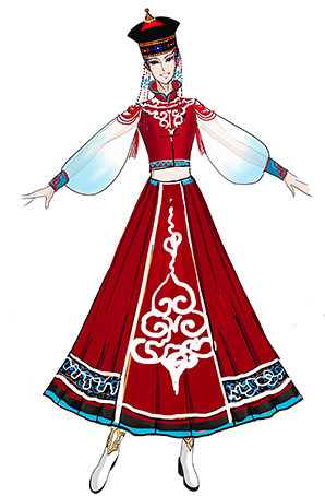 蒙古族舞台演出服装红色大摆裙舞蹈服装定制!