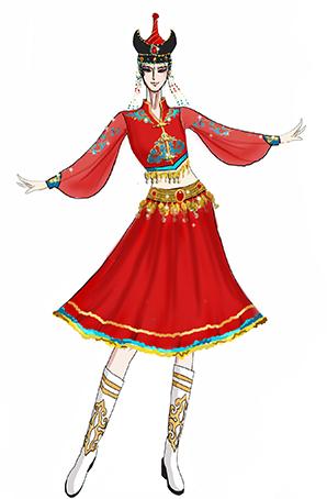 蒙古族舞蹈演出服装女子舞蹈演出服装设计!