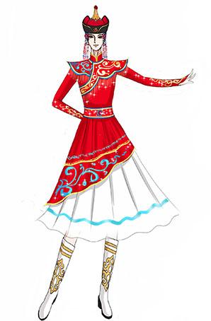 经典红色蒙古女舞台演出服装设计与定制!