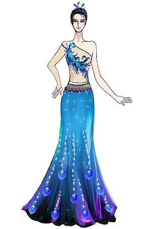 傣族女孔雀女羽毛演出服装定制,蓝色经典民族舞蹈服装设计!