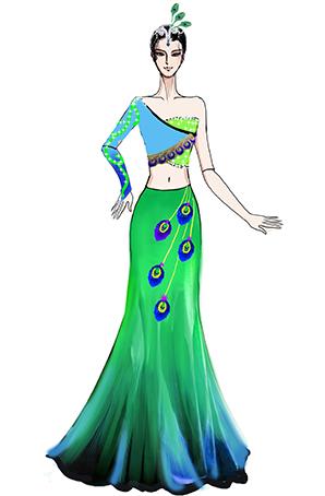 傣族女舞蹈表演服装,成人舞台演出服装设计图稿!