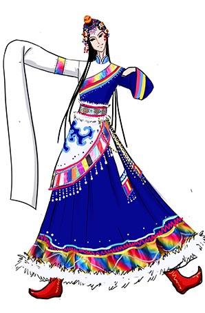 蓝色藏族女款舞蹈演出服装设计图!