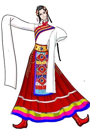 舞台表演服装藏族长袖舞蹈演出服装设计图!