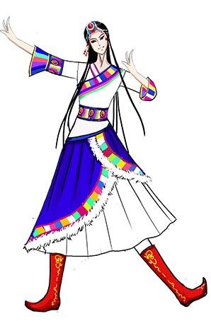藏族舞蹈服装服装女子团体舞台演出服装设计图!
