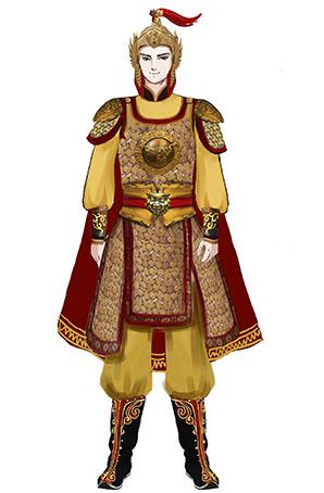 儿童男子金甲将军舞剧演出服装定制设计图!