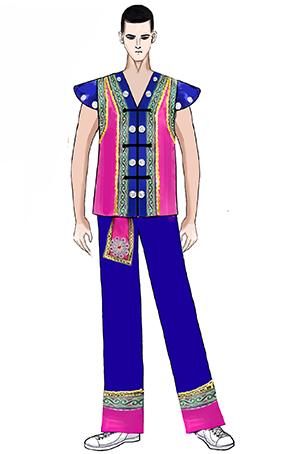 校园健美操民族表演服装男子氨纶健美操表演服装定制设计图!