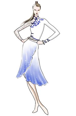 女子健美操舞蹈服装白色青花健美操舞台比赛设计图!