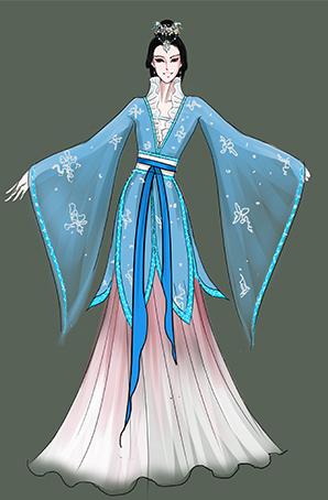 古典乐器演奏服装,古典雅乐女子表演服装定制设计图!