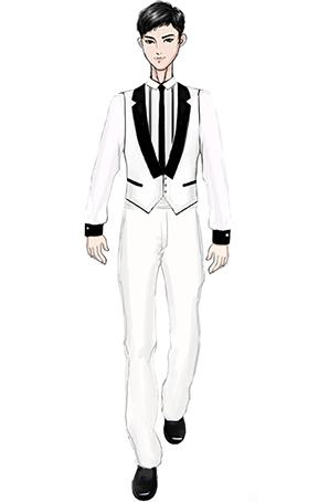 白色马甲合唱演出礼服设计图稿
