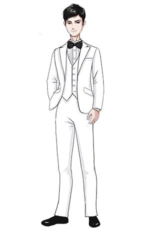 少年儿童白色西装合唱演出服装定制图样!