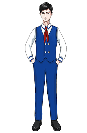 校园儿童合唱服蓝色马甲演出合唱服装设计图稿