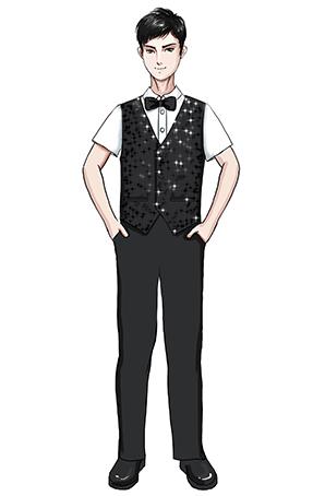 校园合唱服装黑色马甲长袖白衬衫合唱服装定制