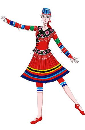 彝族舞蹈演出服装设计彝族舞蹈服装定制女装
