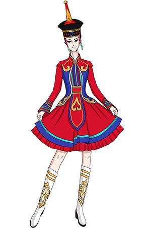蒙古服装女舞蹈服民族舞蹈演出服装蒙古舞蹈欢乐姑娘舞台服装