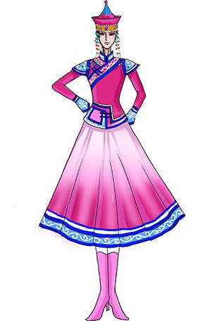 少数民族服装定制女蒙古民族服装定做厂家