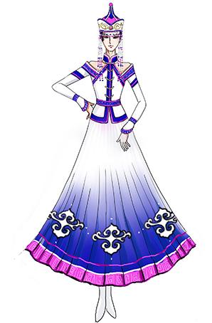 蒙古族女演出服装定制舞台表演服装定制