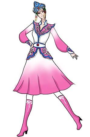 蒙古舞蹈表演服装设计女玫瑰色蒙古演出服定制