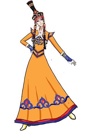 民族舞蹈服装黄色女蒙古演出服长裙定做厂家