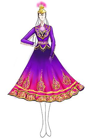 民族演出服装女新疆维吾尔族舞蹈服装厂家