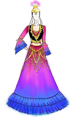 新疆少数民族维族女舞蹈服装演出服长裙定做