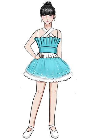 校园学生天蓝色舞台服装露肩校园表演服装定制