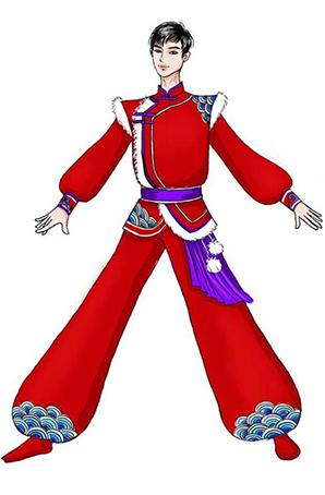 男款秧歌演出服装陕北民间秧歌舞蹈比赛服装定制
