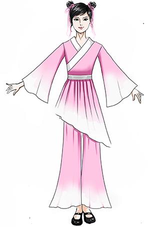 校园古典舞蹈演出服装儿童女款粉色舞蹈服服装设计