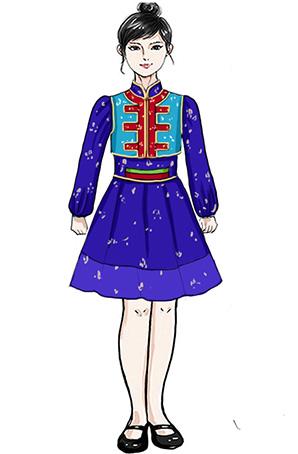 蒙古儿童舞蹈演出短裙服装设计与定制新款!