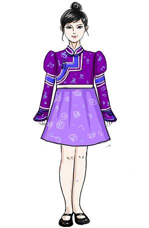儿童民族舞蹈服装校园文艺演出蒙古族儿童女款服装设计!