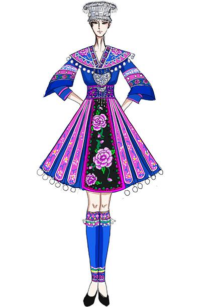 苗族舞服装女民族舞蹈演出服装苗族服定做