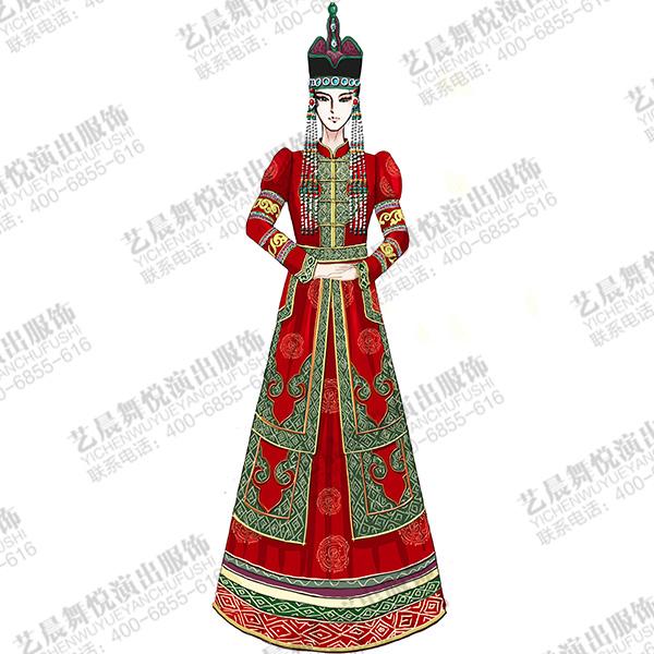 蒙古族舞台装女民族舞台演出服装蒙古服装定制