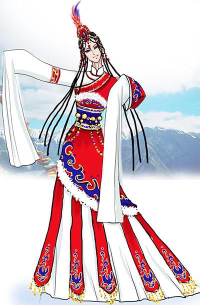 藏族民族服饰舞蹈演出服装定做供应商