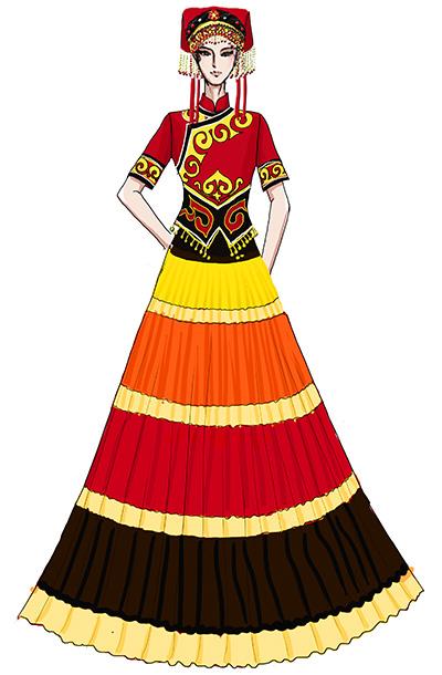 女士彝族服装民族舞台演出服装彝族长裙表演服定做