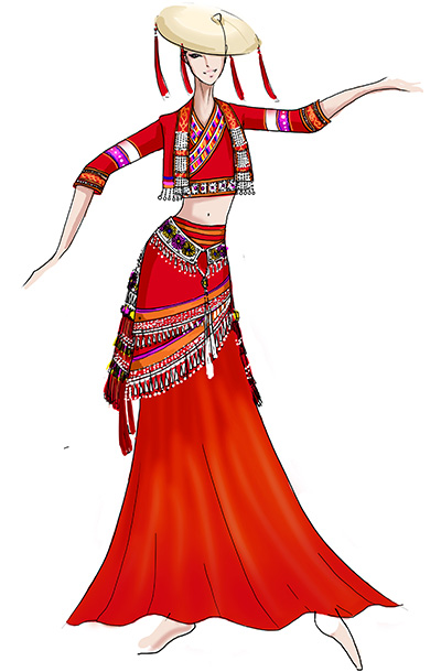 花腰傣族舞蹈演出服装女红色傣族舞台服装定制