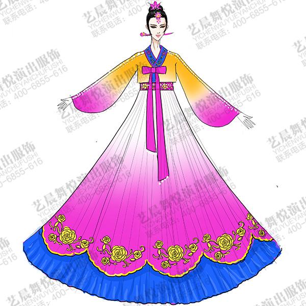 朝鲜族表演服装定做民族舞台服装供应商