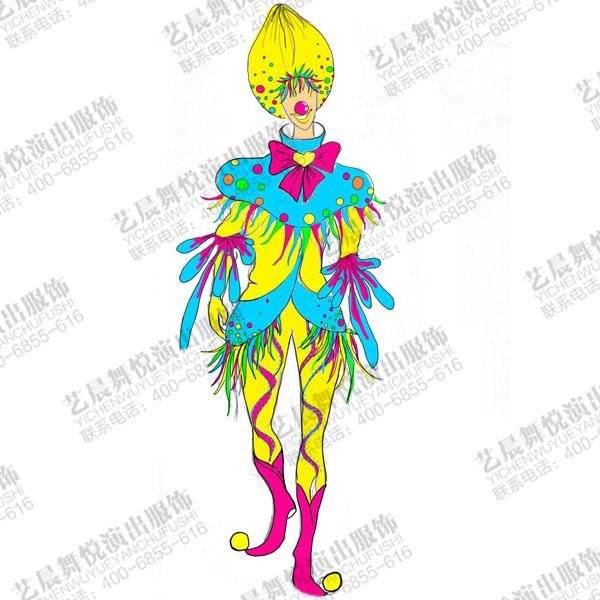 马戏团小丑演出服装设计游乐园小丑表演服装定制