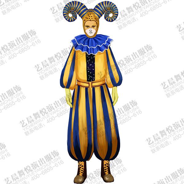 景区演出服装小丑表演服装设计游乐场小丑装扮服装设计