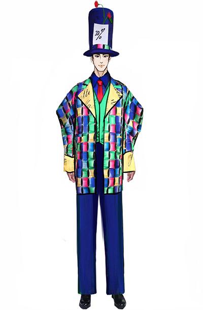 舞台演出服装小丑服装定制,马戏团魔术师演出服装设计