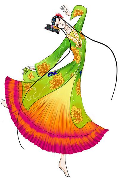 古典舞蹈百花争艳服装设计女舞台演出服装古典舞蹈服装设计