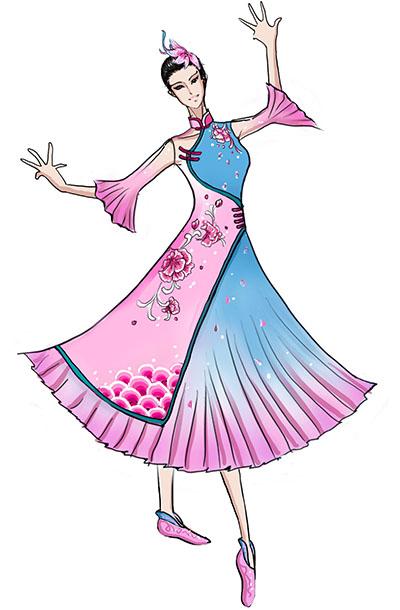 古典风舞蹈表演服设计女长裙演出服装定制