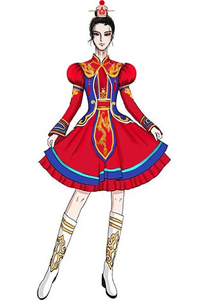 舞台演出服装鼓手表演服装内蒙古民族鼓手服装设计!