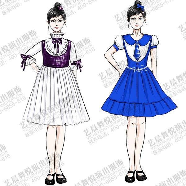 校园儿童合唱演出服装定制款式女童百褶群合唱服!