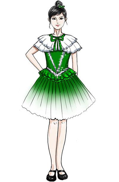 女童合唱演出服装绿色演出服装设计!