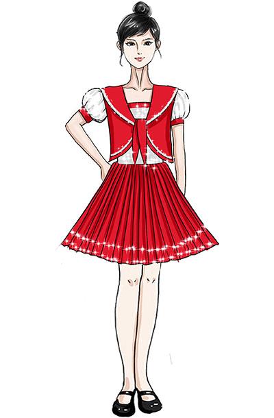 校园新款红色披肩合唱儿童百褶裙服装设计!